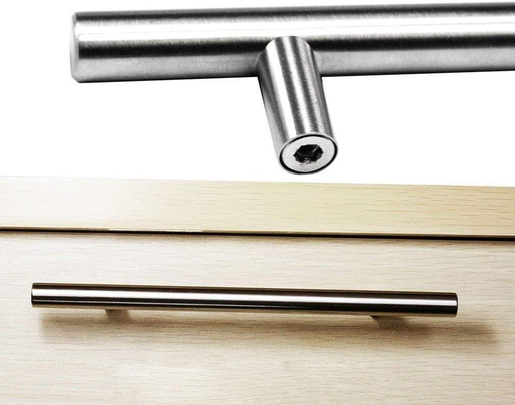 2 unidades Tiradores de acero inoxidable para puerta de armario de cocina n/íquel cepillado 96 mm acero inoxidable armario de cocina