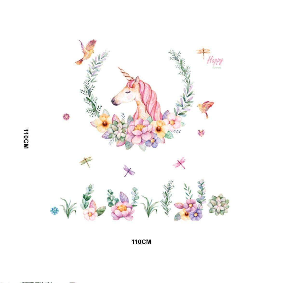 Colorfulworld Dulce unicornio Flor Pegatinas de pared Cuartos de bebes Decoraciones de pared Dormitorio Sal/ón Guarder/ía Habitaci/ón Infantiles Ni/ños Beb/és Style2