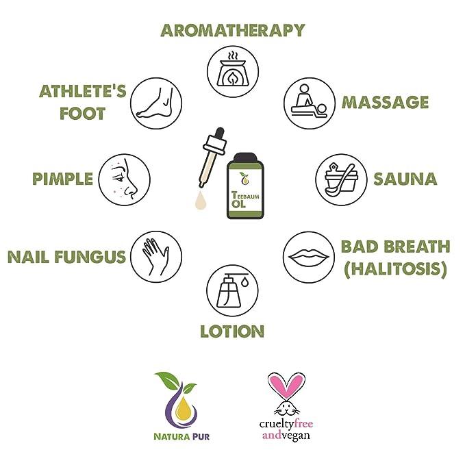 Natura Pur Aceite de Árbol de Té 50ml - 100% orgánico, puro y vegano - Esencia para Aromaterapia y Tratamientos de Acné, Piel Grasa, Piojos, Anti Hongos en ...