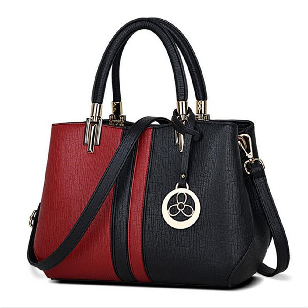 Amazon.com  Beautyfronta Women Messenger Bag Patchwork Top Handbag Ladies  Inclined Shoulder Woman Bags BLACK Burgundy A  Sports   Outdoors 1e01fdf697840
