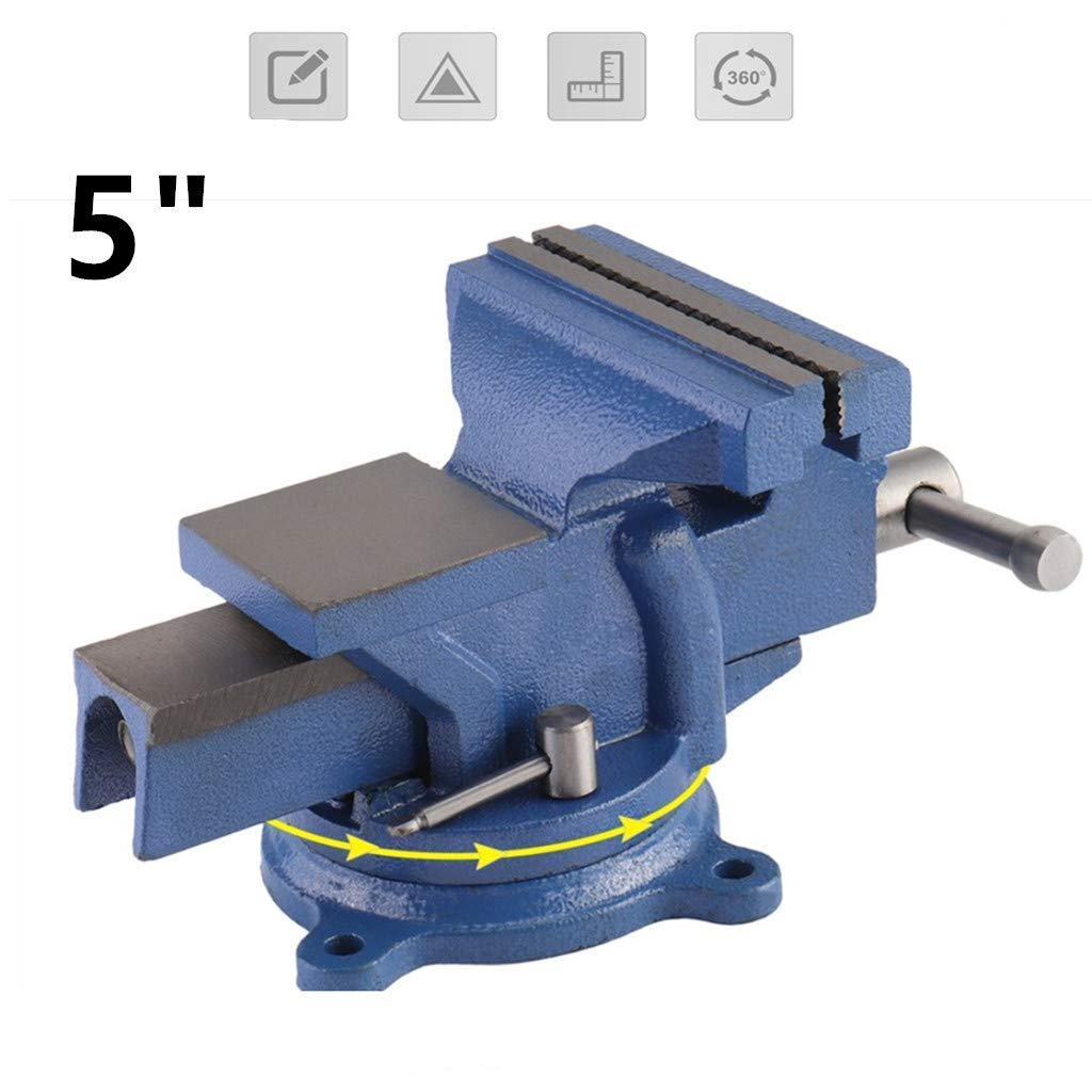 Graspwind 5' 125mm Bench Vice Workshop Clamp 360° Swivel Base Heavy Duty Engineers Vice Durable Jaw Bench Clamp (5'')