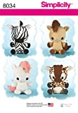 Simplicity Patterns Animal Stuffies Size: Os
