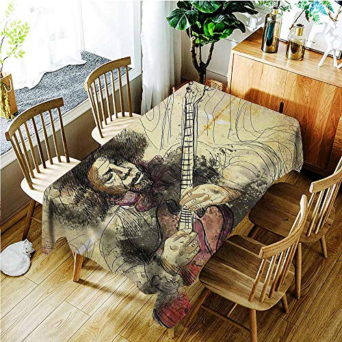 (TT.HOME Small Rectangular Tablecloth,Jazz Music Guitar Virtuoso Hand Drawn Style Illustration of a Guitar Player Musician,Table Cover for Dining,W60x120L,Brown Beige Black)