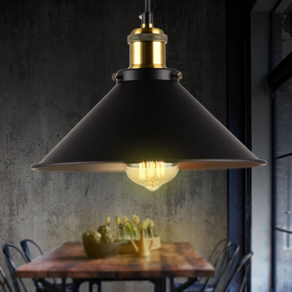 Vintage Pendant Lights Retro Industrial Metal Aluminum Hanging Lamp Shade for Living and Dining Room Decorations,1-Light Diameter 10.23inch (Black)