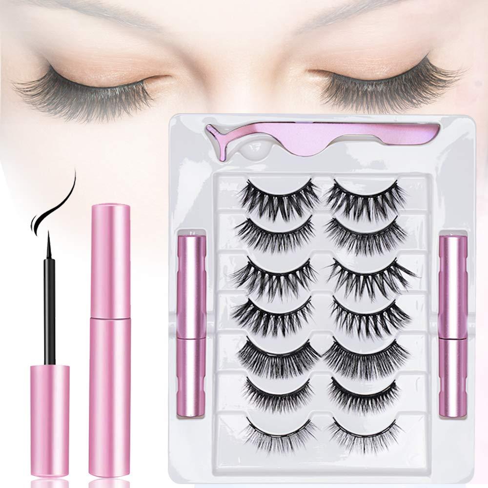 Magnetic Eyelashes with Eyeliner, 7 Pairs Reusable Magnetic Eyelashes and 2 Tubes of Magnetic Eyeliner Kit with Tweezers, False Eyelashes Natural & Reusable Eyelashes—No Glue Need.