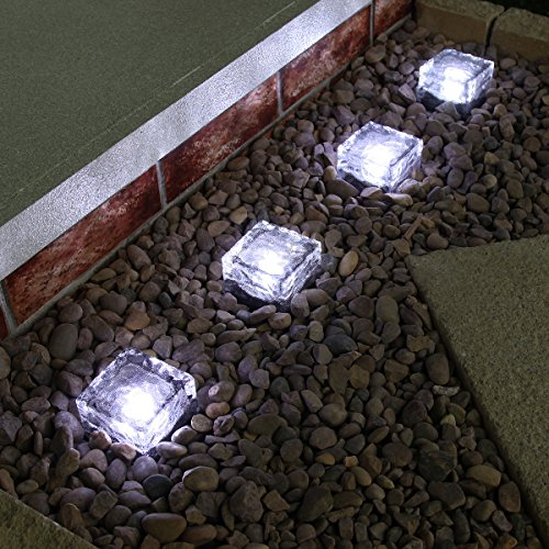 Solar Powered LED Glass Brick Path Light, Pack of 4 by Festive Lights (White)