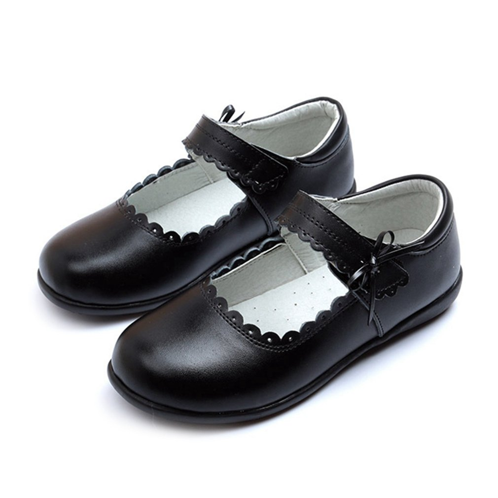 CYBLING Girl's School Uniform Dress Shoes Soft PU Leather Mary Jane Flat with Side Bow (Toddler/Little Kid/Big Kid) by CYBLING (Image #1)