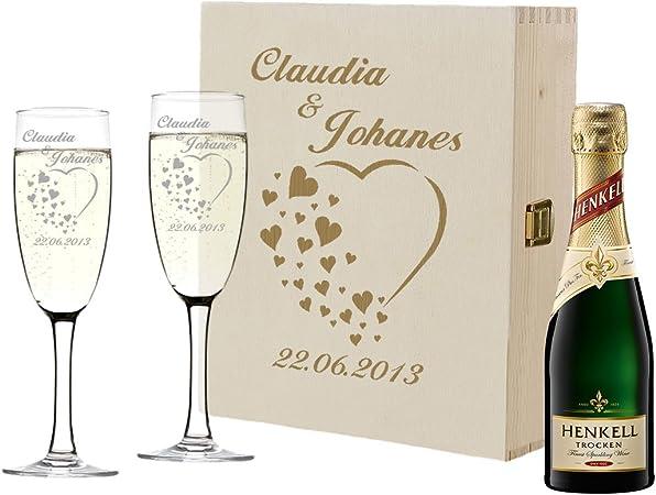 Idée De Cadeau De Mariage 2 flûtes à Champagne et Bouteille de Champagne dans Un Coffret