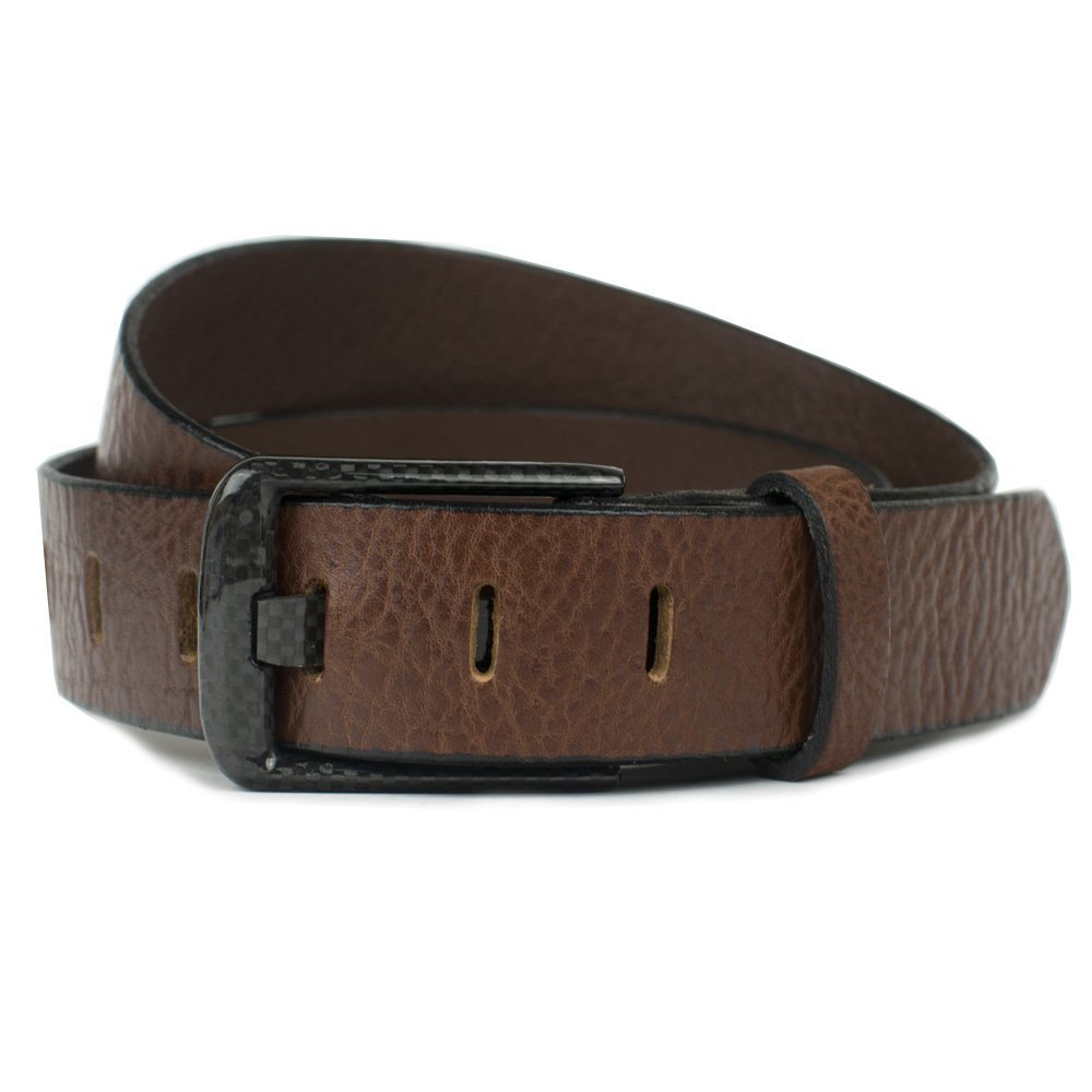 Carbon Fiber Wide Pin Brown Belt - Handmade in USA (36'')