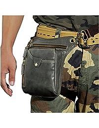Le'aokuu Mens Genuine Leather Messenger Riding Hip Bum Waist Pack Drop Leg Cross Over Bag (Grey 2)
