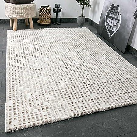 Wohnzimmer Teppich In Beige Creme Mit Kachel Muster Fliesen Optik