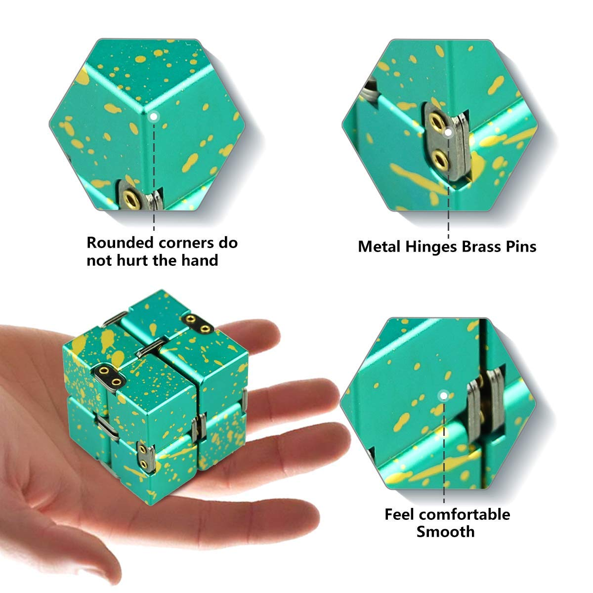 HELESIN Infinity Cube Fidget Toys Relaxation Office Stress Reducers for ADD, ADHD, Anxiety, Autism Adult & Kids, Aluminium Alloy, Camouflage by HELESIN (Image #3)