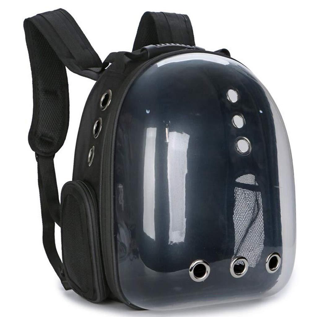 Black FJH Cat Bag Out Portable Space Bag Transparent Cat Cage Cat Breathable Chest Shoulder Bag Dog Pet Cabin Backpack (color   Black)
