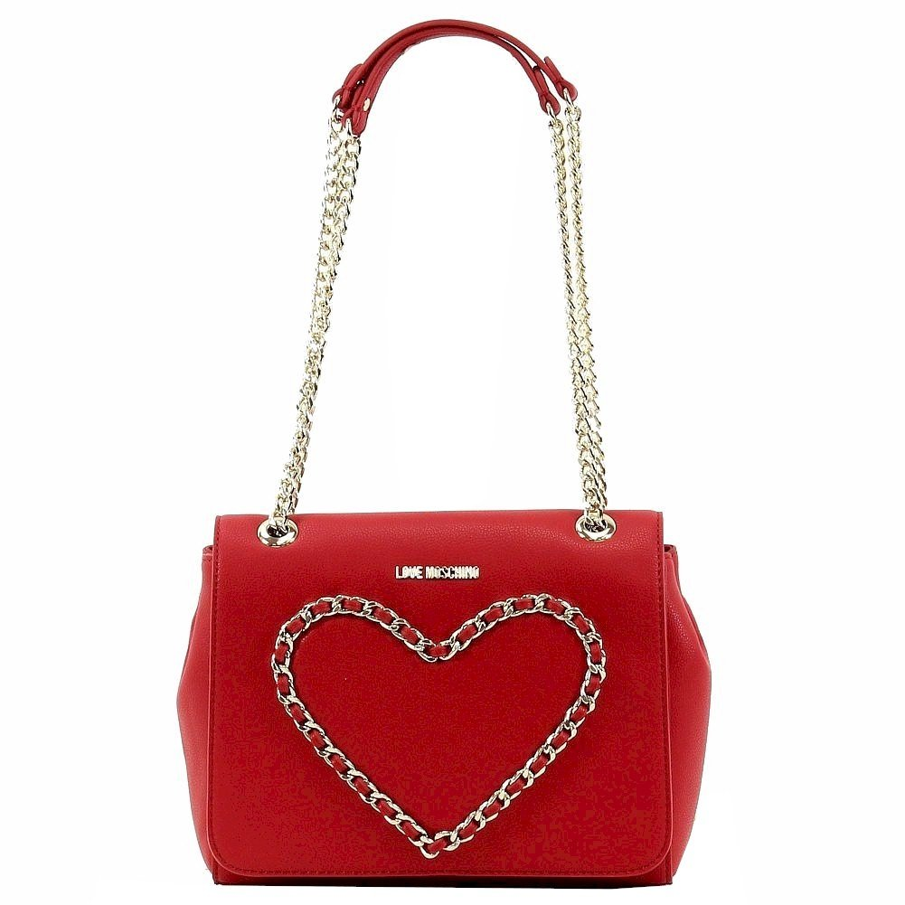 Love Moschino Women's Chain Heart Flap Over Red Leather Satchel Handbag