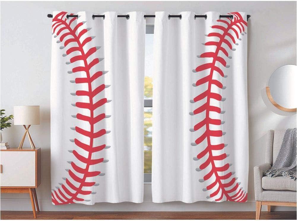 KLRI Curtains Blackout (2 Panel) Top Grommet Window Coverings Darkening 42 x 63 Inch Sports Baseball