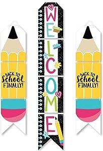 Big Dot of Happiness Goodbye Distance Learning - Hanging Vertical Paper Door Banners - Back to School Classroom Wall Decoration Kit - Indoor Door Decor