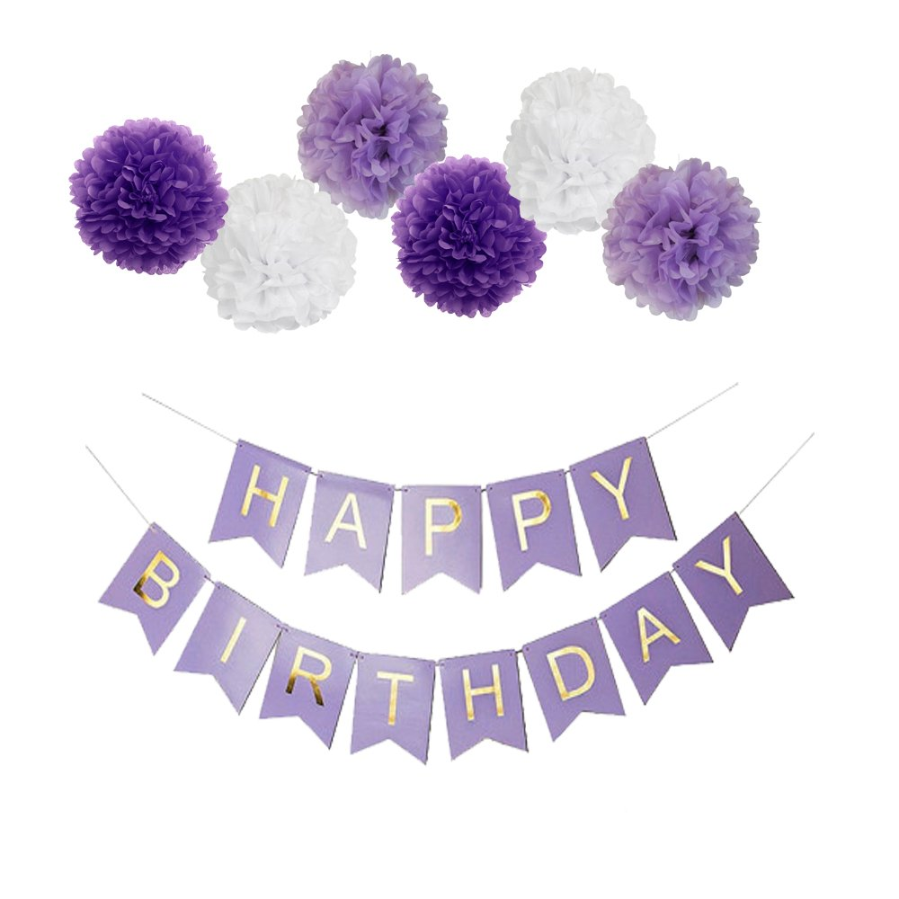Purple Happy Birthday Bunting Banner,10'' Tissue Paper Pom Poms Flowers,Perfect Party Decoration Supplies for Birthday by Guzon