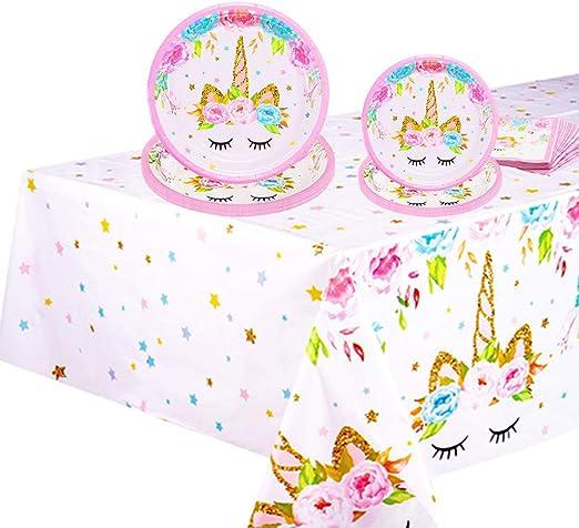 Amazon.com: Suministros de fiesta de cumpleaños de unicornio ...