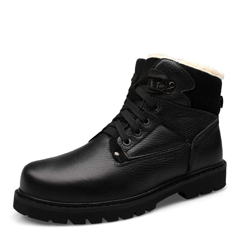 Hilotu Men's Fashion Ankle Boots Casual Classic Round Toe Winter Fleece Inside High Top Anti-Slip Snow Boot (Color : Black, Size : 11.5 D(M) US)
