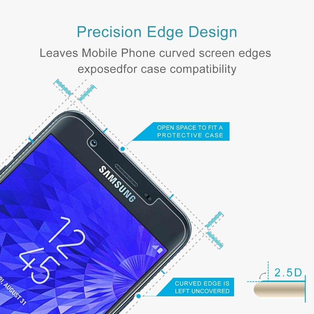 Premium Tempered Glass Screen Film 100PCS 9H 2.5D Tempered Glass Film for Galaxy J7 Anti-Scratch Screen Protector 2018