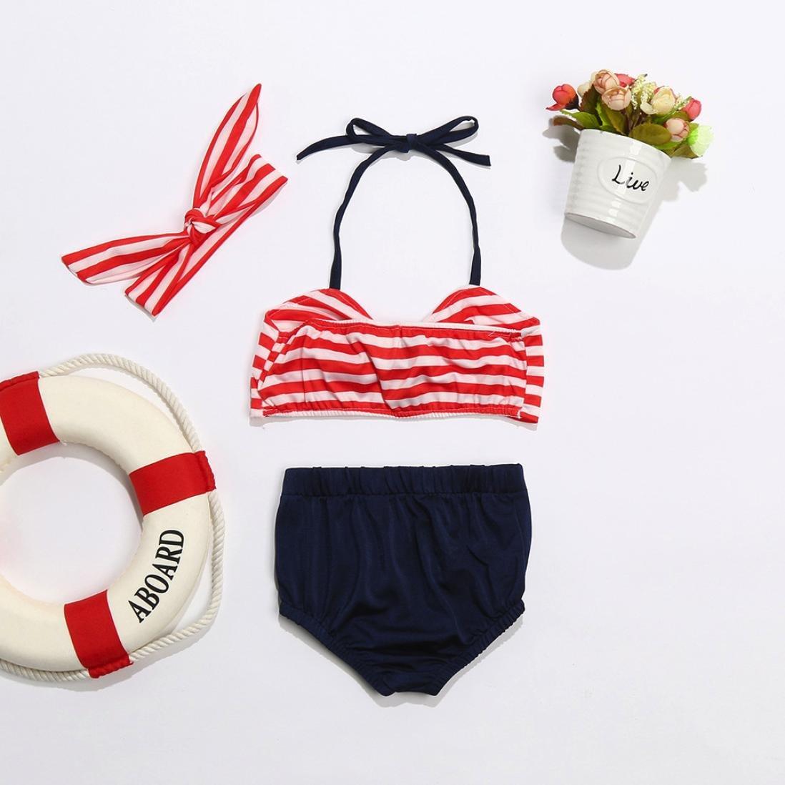 squarex 3Pcs Kids Baby Girls Swimwear Straps Swimsuit Bathing Bikini Set Outfits