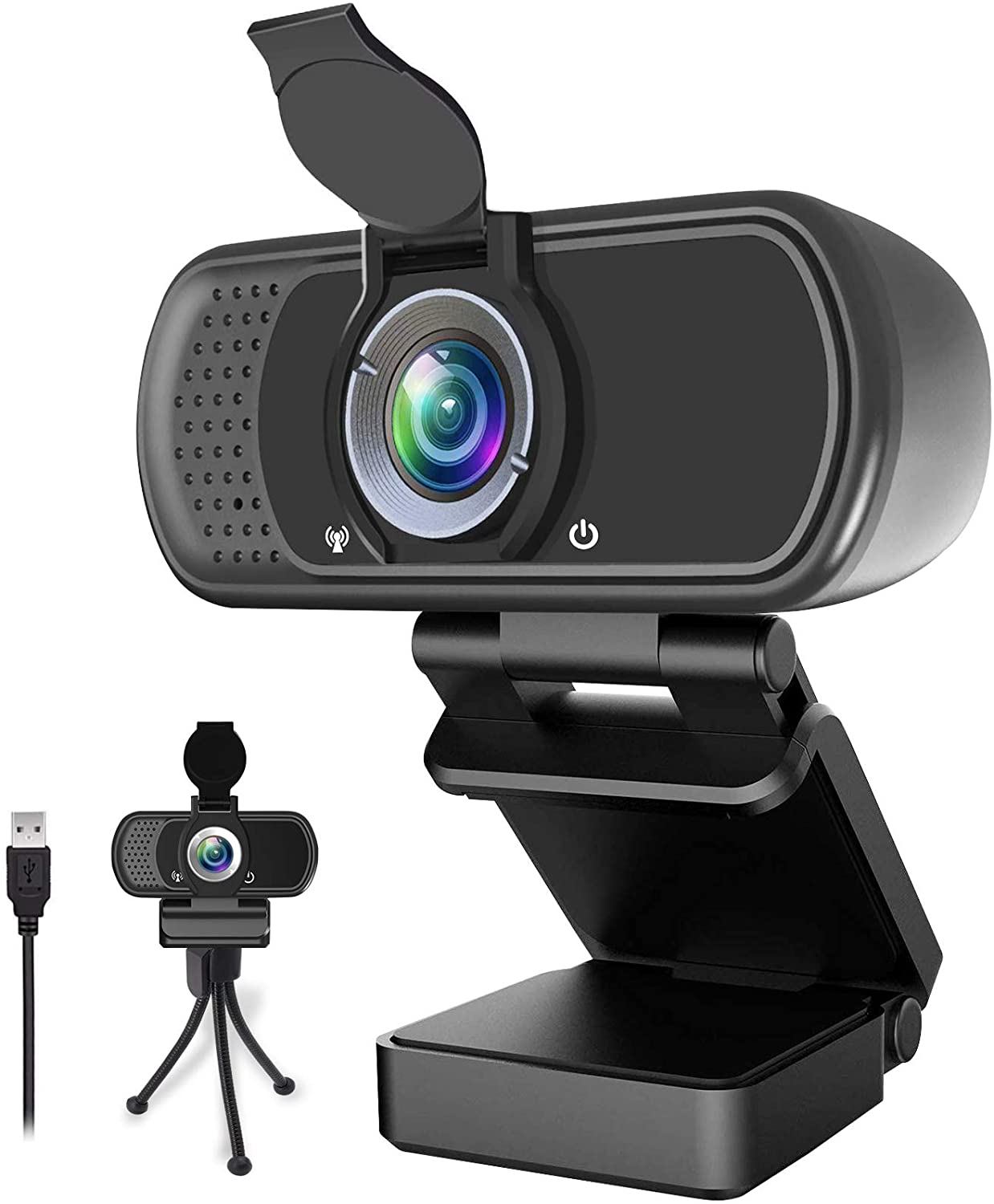 1080P HD Webcam Streaming Computer Camera Conferencing USB Webcam Built in Dual Noise Reduction Microphone with Wide View Angel for PC Desktop Laptop Video Calling Webcam with Microphone