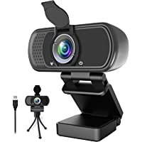 1080P Webcam,Live Streaming Web Camera with Stereo Microphone, Desktop or Laptop USB Webcam with 100-Degree View Angle…