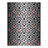 Polyester Rectangular Tablecloth,Poker Tournament Decorations,Card Symbols Ornament Victorian Floral Swirls Pattern Decorative,Silver Black Red,Dining Room Kitchen Picnic Table Cloth Cover,for Outdoor
