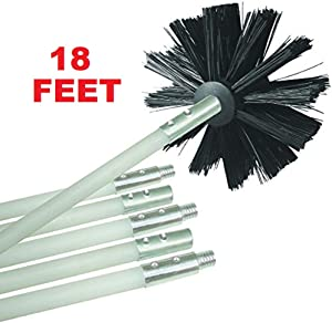 Flexible Dryer Vent Cleaning Kit, Lint Remover, Extends up to 18 Feet, Synthetic Clean Brush Head, Use With or Without a Power Drill (18 Feet)