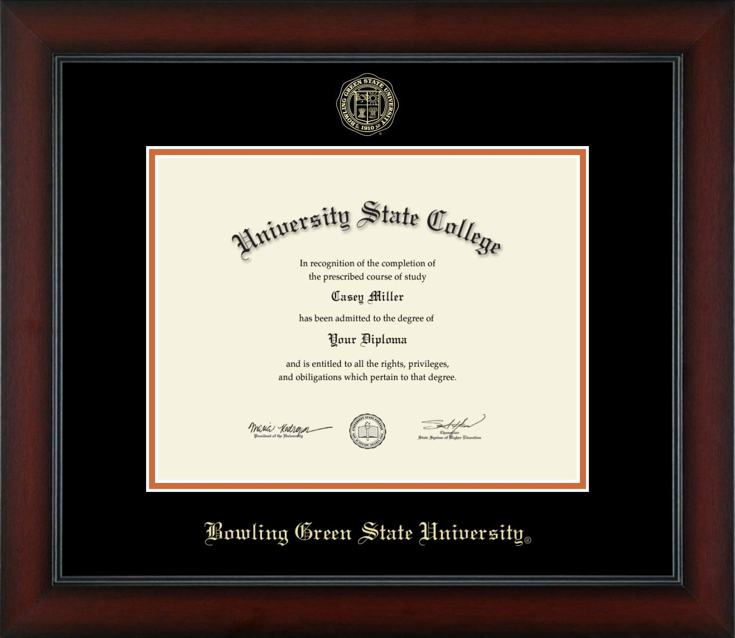 Bowling Green State University - Officially Licensed - Gold Embossed Diploma Frame - Diploma Size 11'' x 8.5''