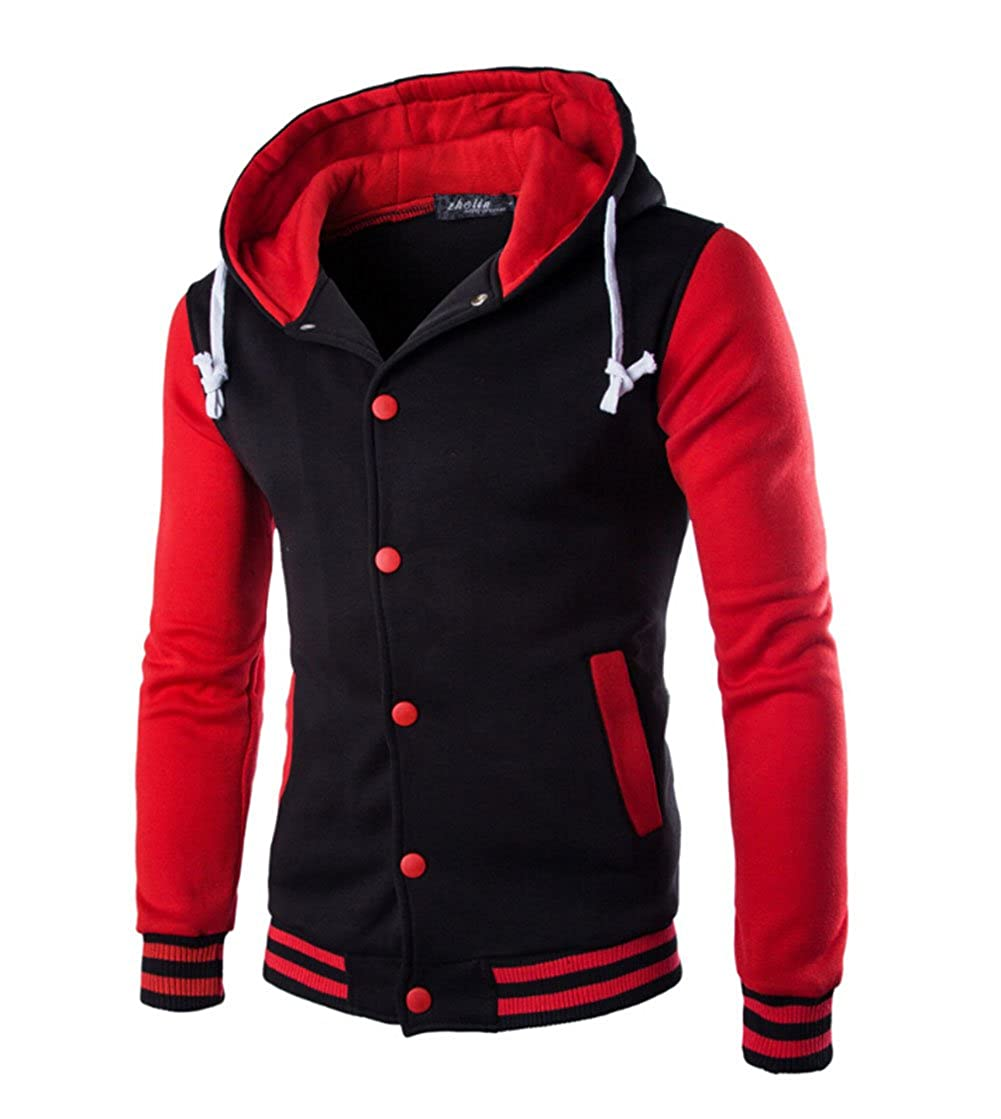 Men's Pullover Hoodie Slim Fit Warm Sweatshirt Baseball Varsity Jacket Other