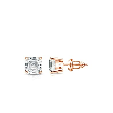 5a272666f Amazon.com: 14k Rose Gold 4-Prong Basket Asscher-cut Diamond Stud ...