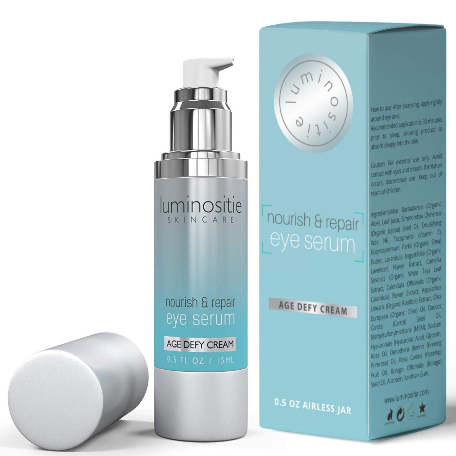 Under Eye Serum For Tight, Puffy Eyes - Treatment For Under Eye Circles, Under Eye Bags, Wrinkles & Fine Lines - Anti-Aging Eye Vitamins Penetrates Deep & Refreshes Cells To Firm Delicate Eye Area