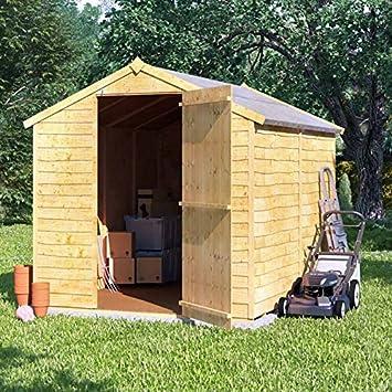 8 x 6 la superposición de madera cobertizo sola puerta sin ventanas Apex el techo y fieltro jardín cobertizos 8 ft 6 ft: Amazon.es: Jardín