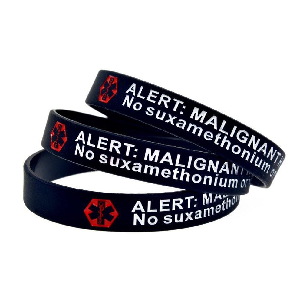 BAIYI 3 Pack Malignant Hyperthermia Alert Bracelet No Suxamethonium Or Volatile Agents Black Silicone Medical ID Wristbands 7.8in