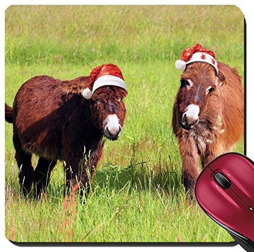 Liili Suqare Mousepad 8x8 Inch Mouse Pads/Mat IMAGE ID 32560138 Christmas animals two donkey eating grass in a field and wearing a santa - Donkey Hat Purple