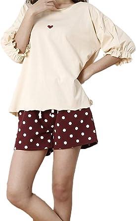 Mujer Pijamas Mujer Verano Lunares Conjunto De Pijama Camiseta + Mangas 3/4 2 Juegos Shorts Elegantes Cuello Redondo Pijama Casuales Mujeres Fashion Cute Moda Ropa para El Hogar Ropa De Dormir: Amazon.es: