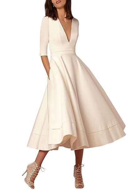 ACHICGIRL Mujer Vestido de Fiesta A-línea Color Sólido Media Manga Cuello V,blanco