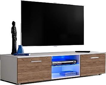 ExtremeFurniture T33 Mueble para TV, Carcasa en Blanco Mate/Frente en Roble Tabaco Mate + LED Azul: Amazon.es: Electrónica