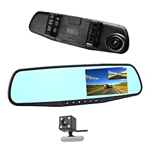 "Car DVR Rear view Mirror Video Recroder 4.3"" inch Car Camera Dual lens Cam night"