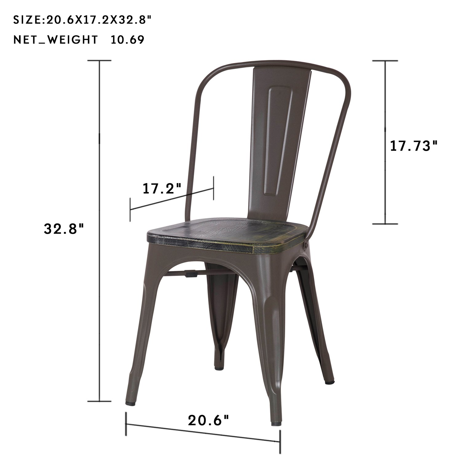 Amazon com joveco stackable distressed metal dining chairs with wooden seat set of 2 chairs