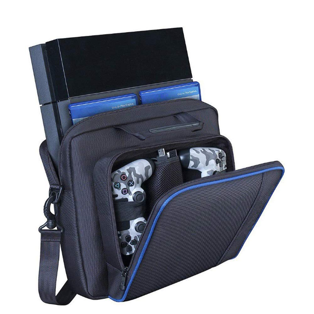 New Travel Storage Carry Case Protective Shoulder Bag Handbag for Playstation PS4, PS4 Pro and PS4 Slim System Console Carrying Bag and Accessories #81050 (Black-Large) by Beststar (Image #1)