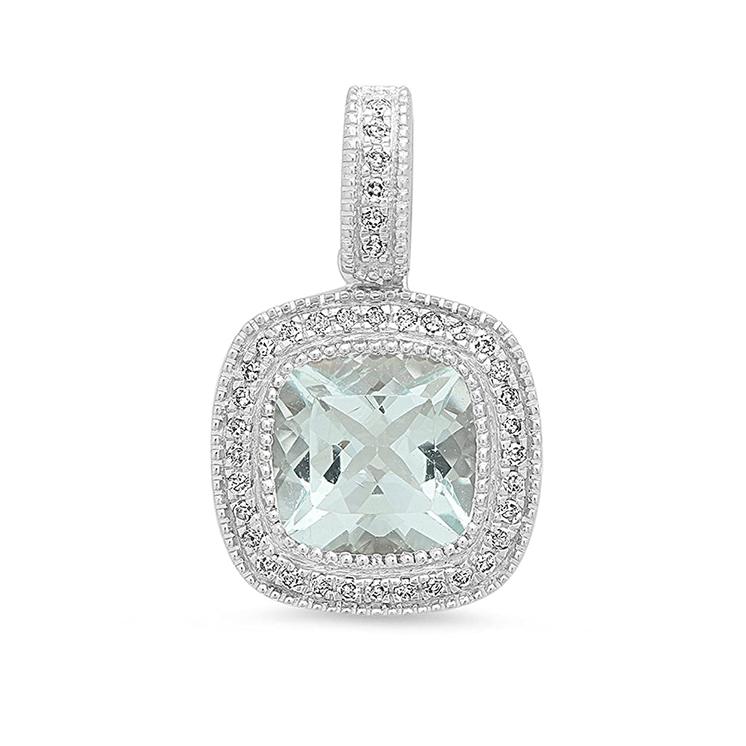 14K White Gold 7 MM Cushion Cut Ladies Halo Style Pendant (Silver Chain Included)