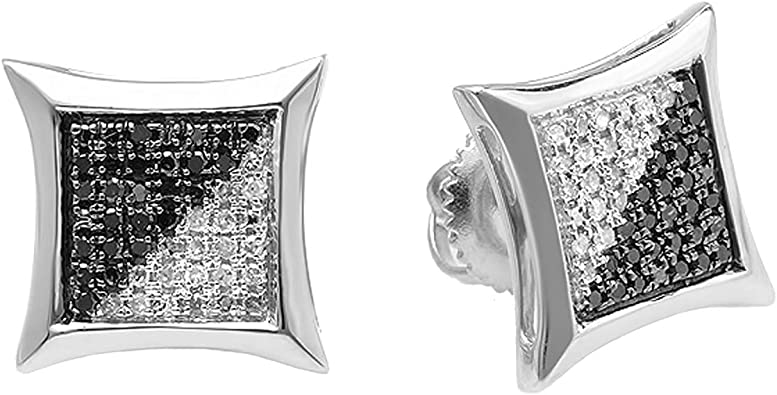 Dazzlingrock Collection 0.05 Carat Only 1pc Blue and White Round Diamond Kite Shape Mens Stud Earrings Sterling Silver ctw