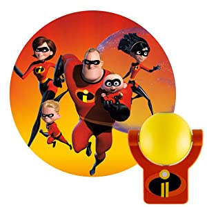 Projectables 41247 LED Incredibles 2 Plug-in Night Light, Collector's Edition, Projects Mr. Incredible, Elastigirl, Violet, Dash and Jack-Jack Characters on Ceiling, Wall or Floor, Yellow and Orange