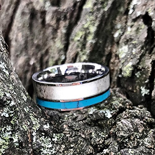 3 pc Natural Deer Antler Ring with Turquoise Inlay Engagement ring Mens Womens Wedding Ring Set Stainless Steel Sterling Silver Band by KingswayJewelry (Image #5)