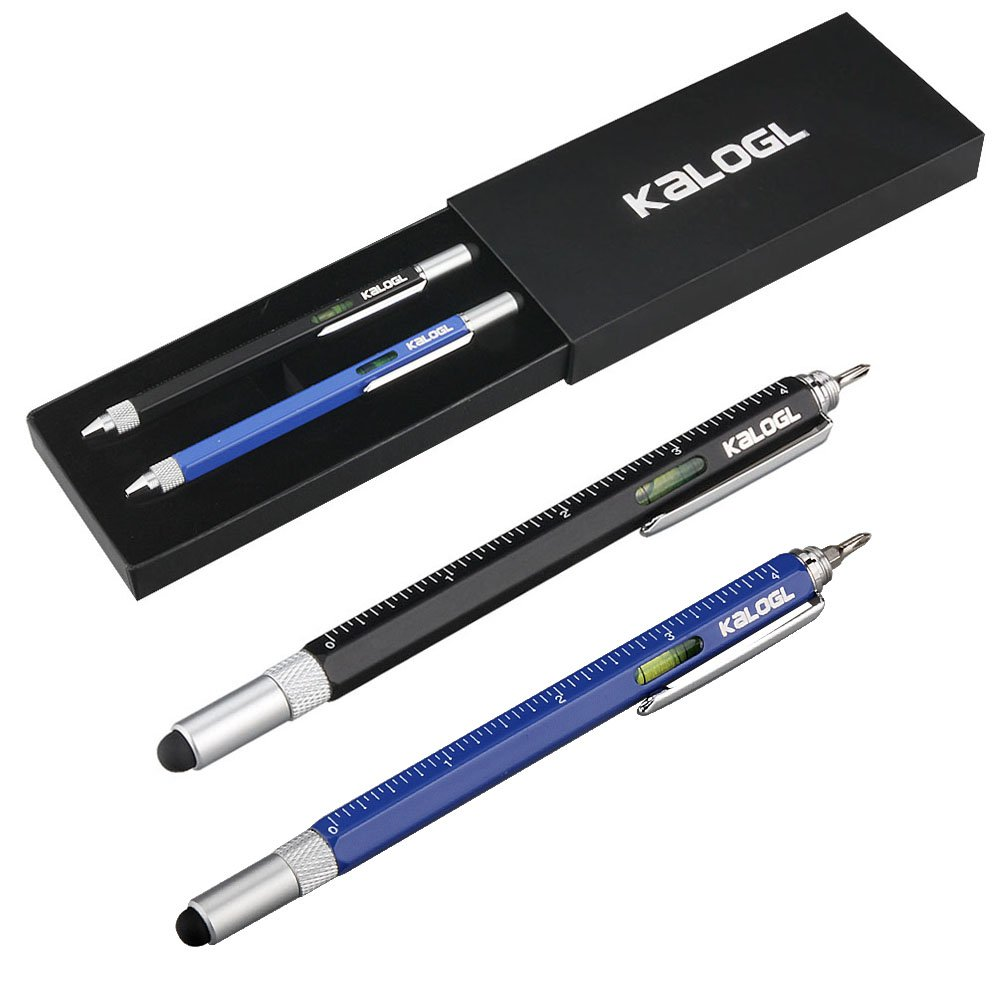 Multitool Pen 2 Pack Stylus Pen 9-in-1 Combo Pen Functions as Touchscreen Stylus, Ballpoint Pen, 4 Ruler, Level, Phillips Screwdriver, and Flathead Gift Black Blue