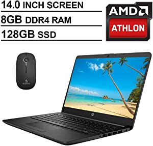2020 Newest HP 14 Inch Non-Touch Premium Laptop, AMD Athlon Silver 3050U up to 3.2 GHz, 8GB DDR4 RAM, 128GB SSD, WiFi, HDMI, Windows 10 in S, Jet Black + NexiGo Wireless Mouse Bundle