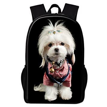 17d28cfaf6cf Image Unavailable. Image not available for. Color  Dispalang Cute Dog Printing  School Backpack for Children Cool Animal Back Pack Girls Polyester Bookbags