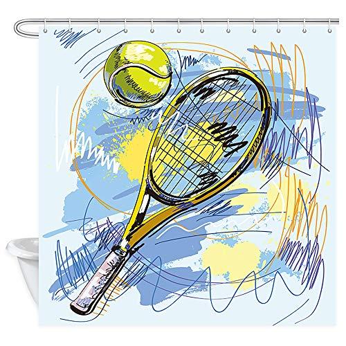 (Sports Decor Shower Curtain, Tennis Rackets and Balls Bath Curtains, Fabric Shower Curtain for Bathroom Accessories 12PCS Shower Hooks, Bathtub Curtain 69X70 in)